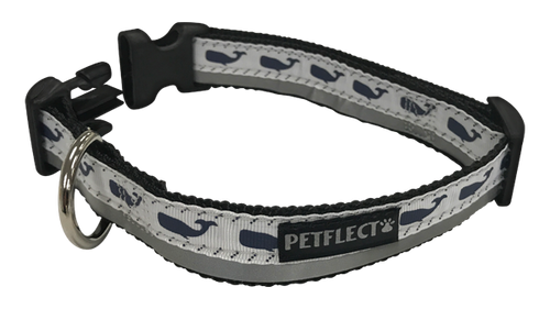 Nautical Navy Whales Dog Collar - Reflective - Nylon - Super Strength