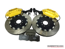 Vagbremtechnic Front Brake Kit - 4 Piston Brembo Caliper - 343x28mm 2 Piece Discs - 5x100