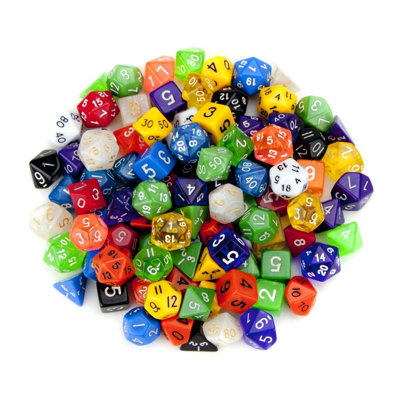 100 pack of random polyhedral dice w free pouch