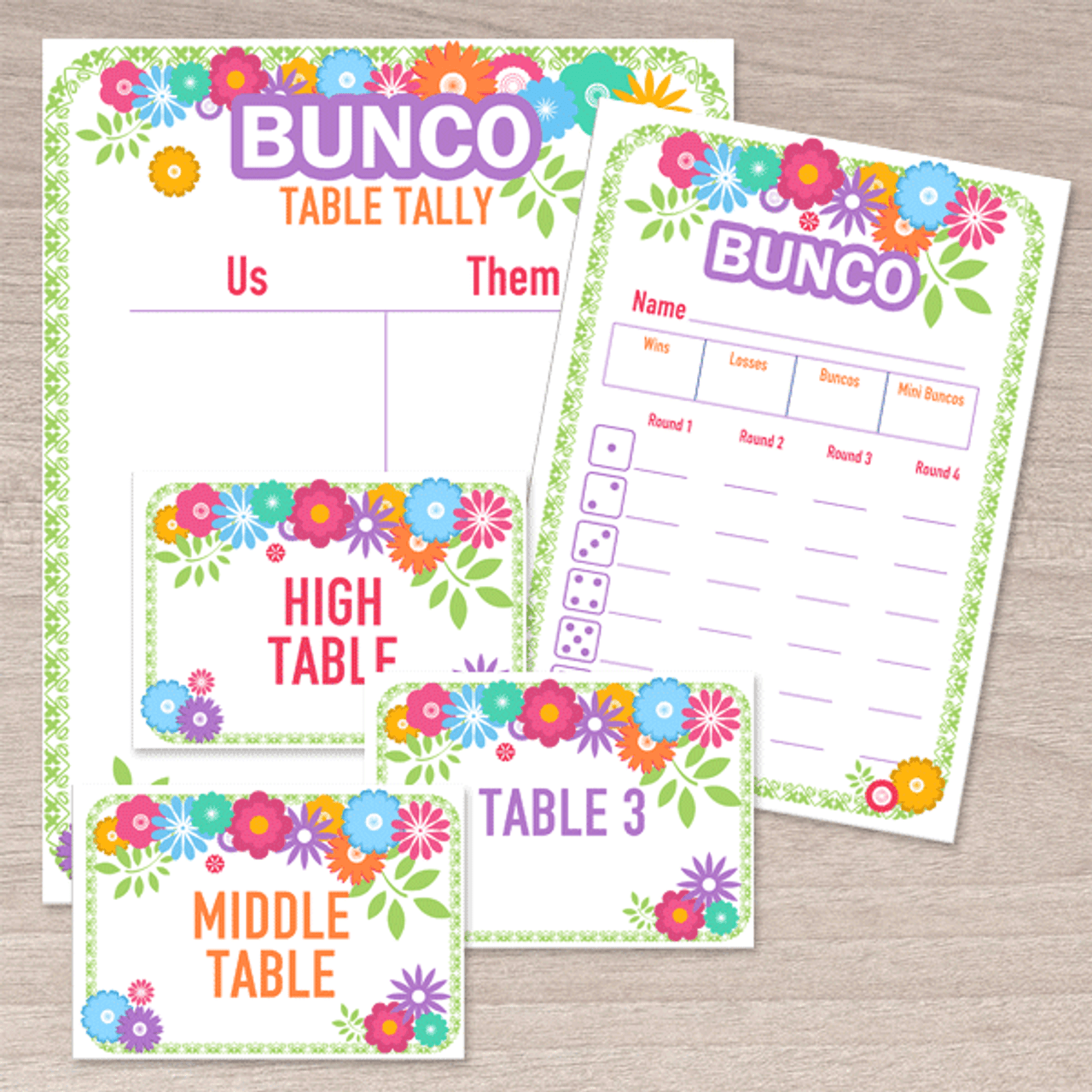 Printable Flower Bunco Set - Score Cards, Tallies, Markers - Dice ...