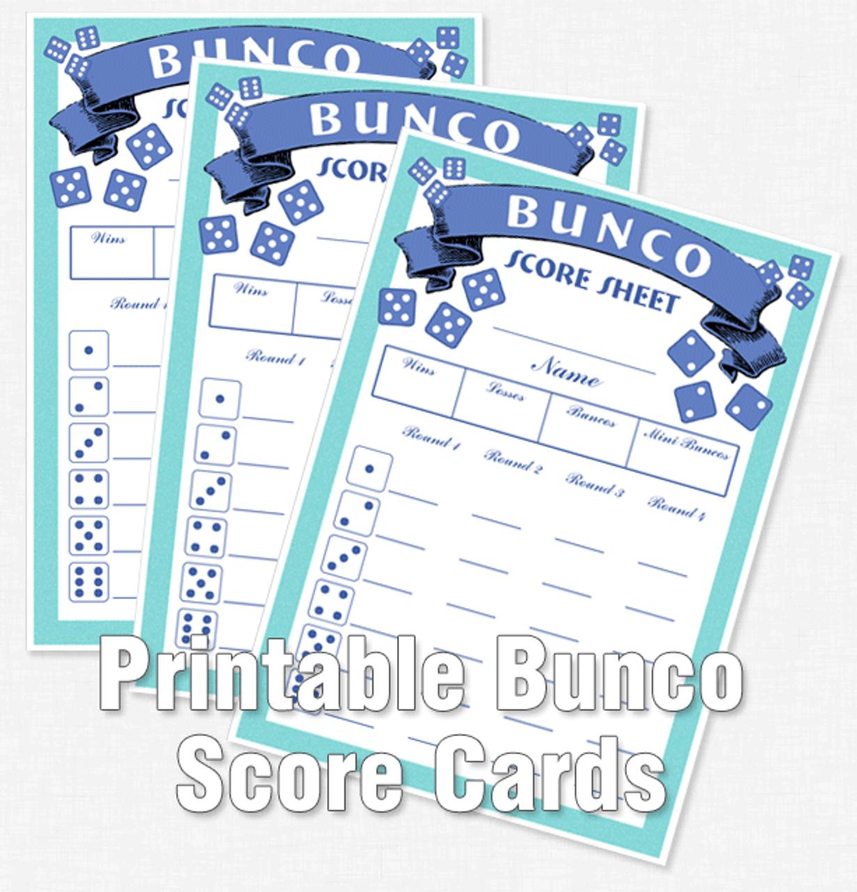 Printable Bunco Score Cards - Dice Game Depot