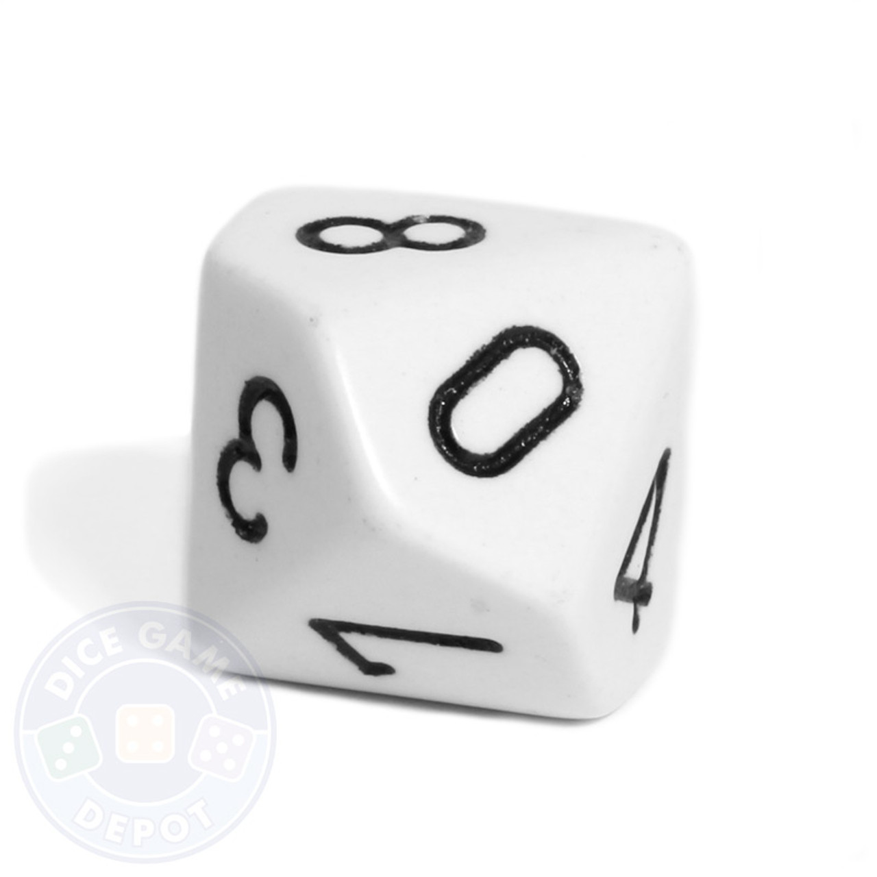 10 sided opaque dice d10 white dice game depot