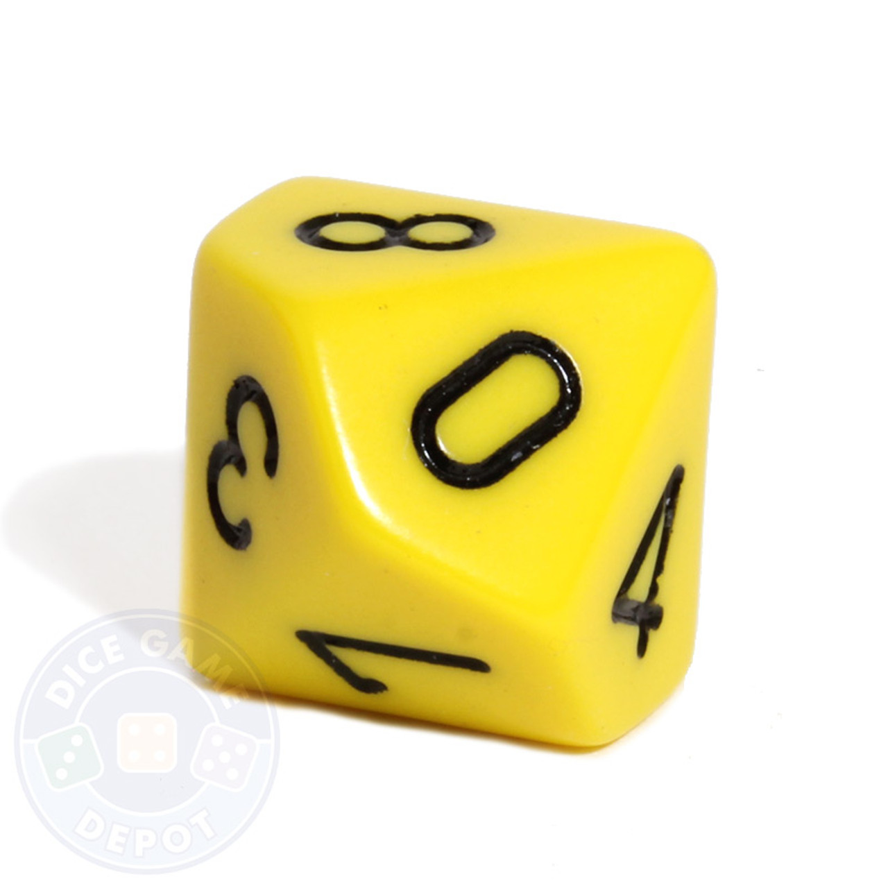 10 sided opaque dice d10 yellow dice game depot