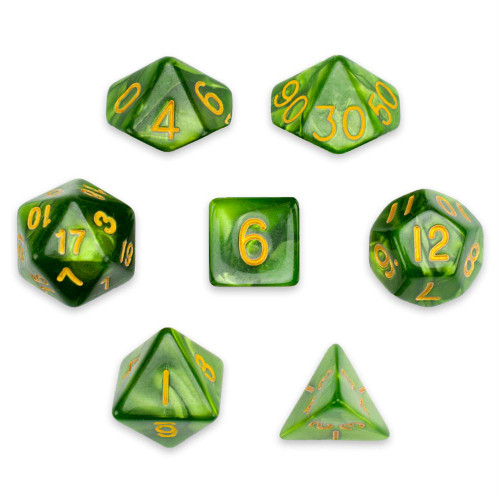 Pearlized 7-piece Dice Set in Velvet Pouch - Jade Oil