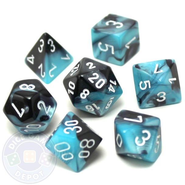 7-piece Gemini dice set - D&D dice - Black and Shell
