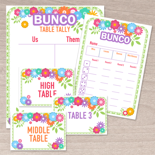 Bunco printable collection with a flower theme - Score cards, table tallies, table markers