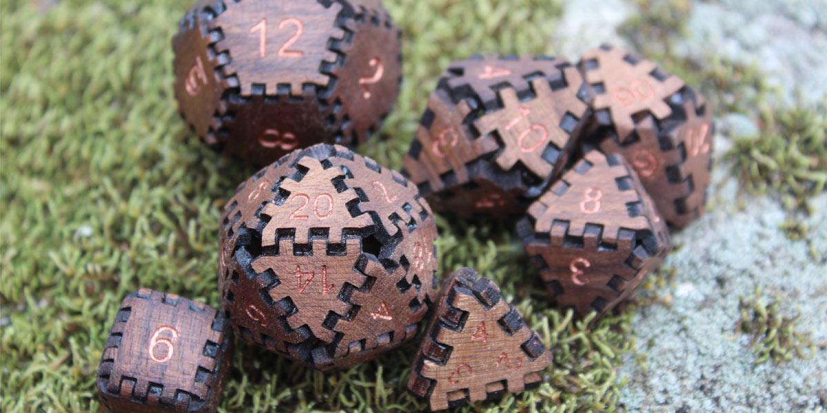 Handmade wooden dice set