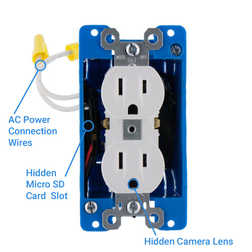 1080P HD WiFi Streaming AC Electrical Outlet Receptacle Hidden ...