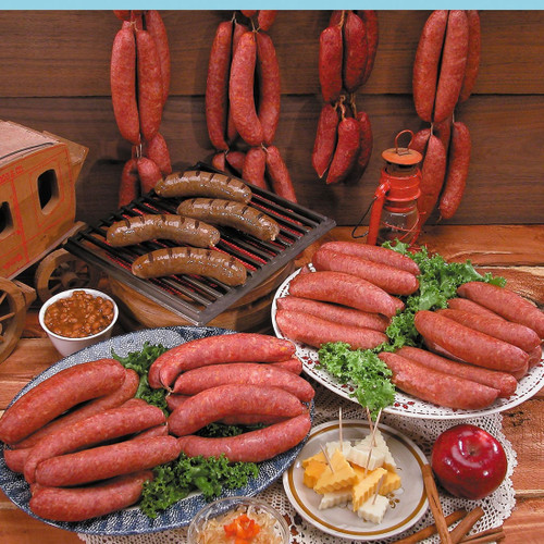 selection of sausage and bratwurst