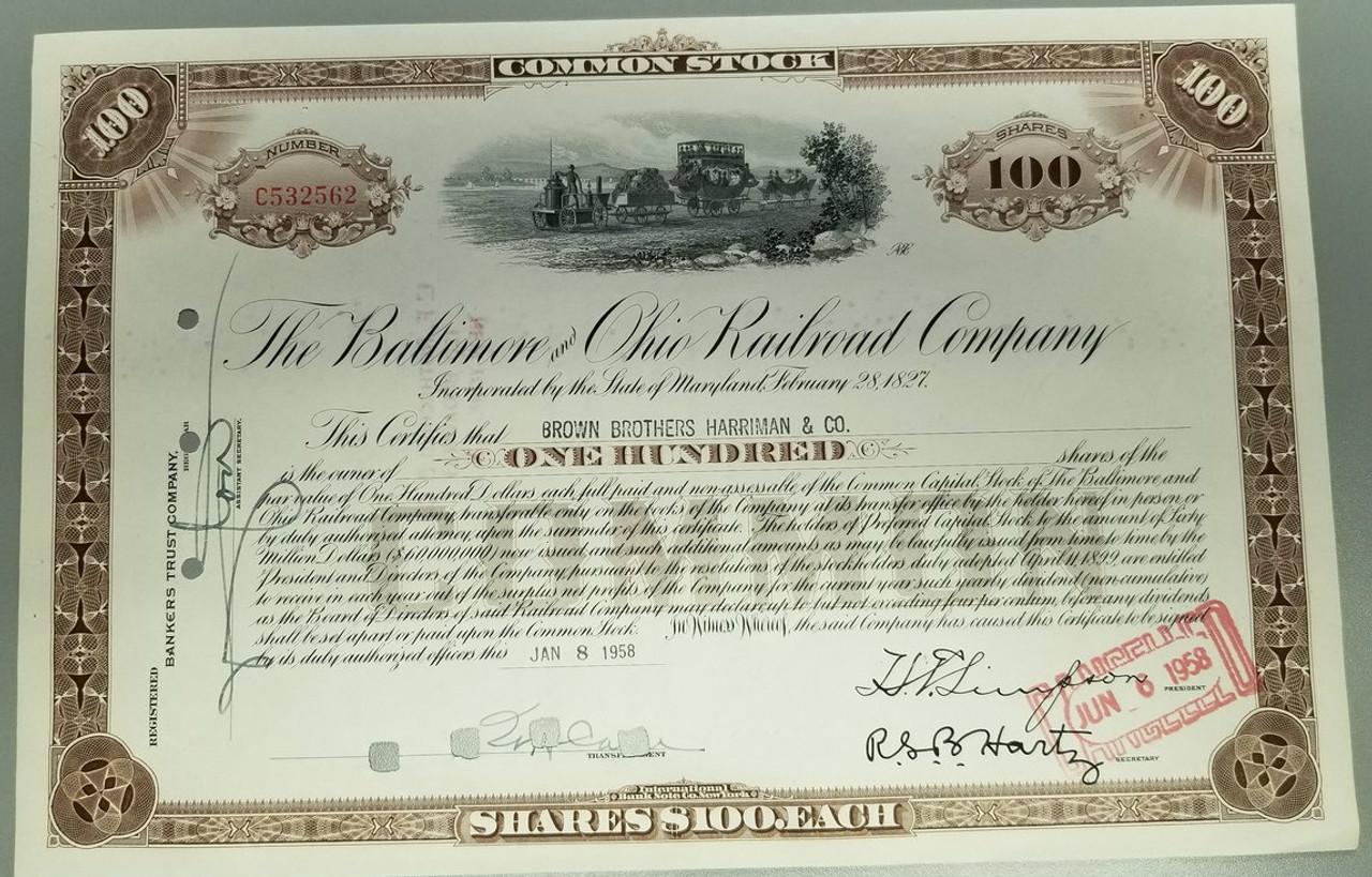 The Baltimore And Ohio Railroad Company Common Stock Certificate