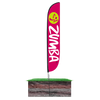 12ft Zumba Fitness Feather Flag Purple with spike stand pole set in ground