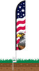 Stars & Bars Eagle Wind-Free Feather Flag with Ground Spike