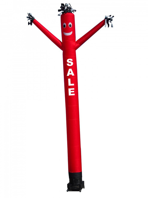 "Sale air dancer  (as pictured). This 20ft tall red air dancer has the word ""SALE"" embroidered to the body in bold white letters (longest lasting method for adding letters). This dynamically dancing inflatable advertising air dancer product will promote your business like no other product or service can. Get your business or event noticed today with the use of inflatble advertising air dancer products"