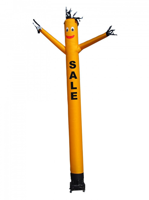 """Yellow SALE air dancer by Go Big Advertising (as pictured). This 20-ft tall yellow air dancer has the word """"SALE"""" embroidered to the body in bold black letters (longest lasting method for adding letters). This dynamically dancing inflatable advertising air dancer product will promote your business/event like no other product or service can. Get your business or event noticed today with the use of inflatable advertising air dancer products."""