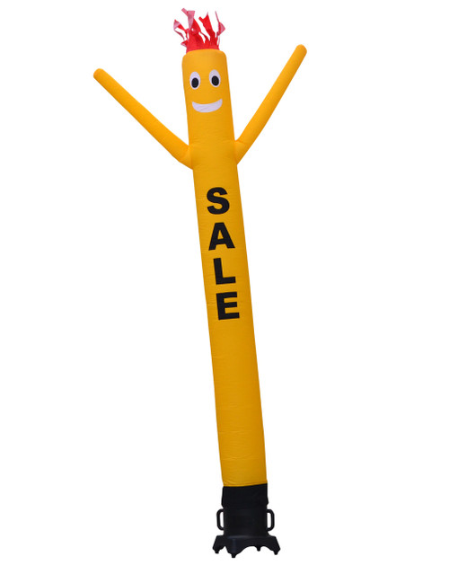 "ellow SALE 10ft tall Air Dancer attachment.  This 10ft tall yellow air dancer has the word ""SALE"" embroidered to the body in bold black letters (longest lasting method for adding letters). The 10 foot tall and 12 inch diameter air dancer is ideal for small retail businesses with limited space. This 10ft tall dancing inflatable advertising product will promote your business or sale like no other product or service can.  Get your business noticed today with the use of inflatable advertising air dancer products. #1 brand in inflatable adverting."