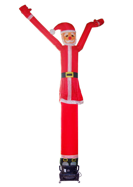 Santa claus shaped and themed air dancer. This dynamically dancing santa shaped inflatable advertising air dancer product will promote your christmas sale or holiday event like no other product/service can. Gain exposure for your holiday sales event today with Santa Claus the use of inflatable advertising air dancer products.