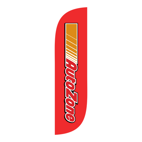 AutoZone feather flag in red.  The brand collection of AutoZone feather flags will get your business sale noticed immediately. Feather flags are the most cost effective and easiest way to spread the word about your businesses sale.  In stock and ready to ship today!