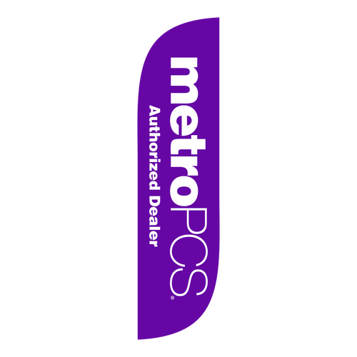 MetroPCS Purple 5ft feather flag with new logo.  The collection of CELLULAR feather flags will get your business sale noticed immediately. Feather flags are the most cost effective and easiest way to spread the word about your businesses sale.  In stock and ready to ship today