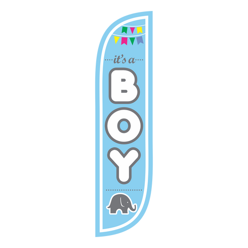 It's a boy! Whether you are advertising for your baby gear retail location or throwing a baby shower, the 5ft It's A Boy feather flag  is a creative way to grab the attention of your customers or to decorate your event. This baby boy themed 5ft feather flag is in stock and ready to ship.