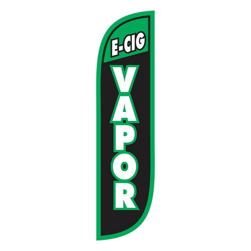 You've read the changing tides, e-cigarettes are in. Now let potential customers know that you carry a smokeless alternative in your store. Get noticed, get customers in your door, let us do the work for you. The 5ft E-Cig Vapor Feather Flag is the workhorse for you. Stick it in the grass with a ground spike, or set it in an x stand and place it on the sidewalk just outside your doors. Either way, this cost effective marketing tool will be sure to grab attention and deliver sales.