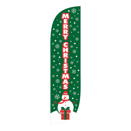 We wish you a Merry Christmas! Snow and presents, red and white lettering on a green background will help get your neighbors, customers, or event goers into the right spirit. We would like to wish you a Merry Christmas; let us help you do the same to your patrons with the Merry Christmas green 5ft feather flag