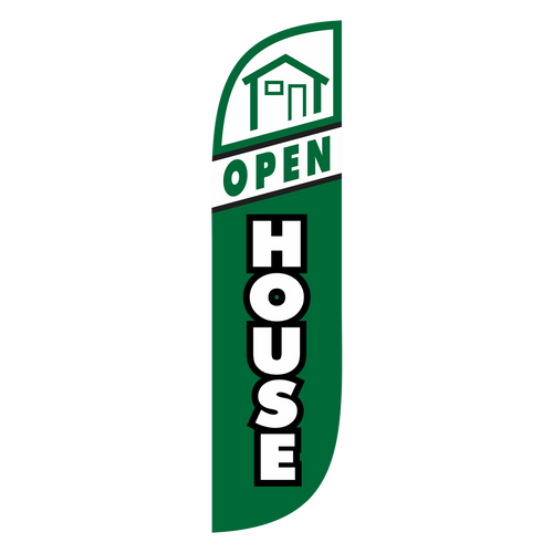 It's a weekend morning and a hundred little identical Open House signs are up on every corner. Get potential buyers to go straight to your listing first with the 5ft Open House Green feather flag. Stand out from the crowd with Open House 5ft feather flag. Add the small feather flag ground spike pole set, stick this Open House sign in the grass and capture all the traffic this weekend with the 5ft Open House Green Feather Flag