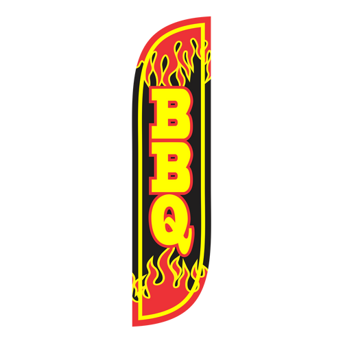 Everyone loves a good BBQ, so show them where you are! The 5 ft black BBQ feather flag is the perfect way to show customers where to get delicious barbeque'd food and promote your business. The 5ft  BBQ feather flag will be noticed by every person who walks by your business. Feather flags are cost effective way of advertising to your customers.