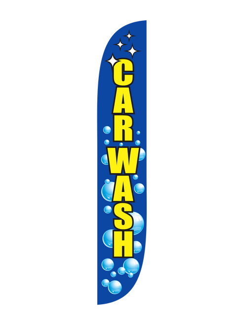 12 Foot Open-Faced Bubbles Car Wash Feather Flag. Get yours today!! Don't let your businesses' in person marketing fall flat by not having a 12 Foot Feather Flag showing people where to come for a car wash. 12 ft open-faced Car Wash Feather Flags are in stock and ready to be shipped. Don't put effort into your business without properly marketing it.  Feather Flags are exactly what you need