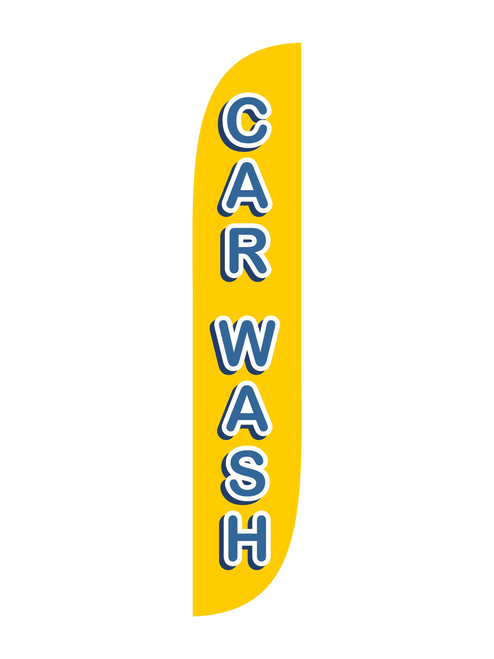Car Wash Feather Flag Yellow 12ft