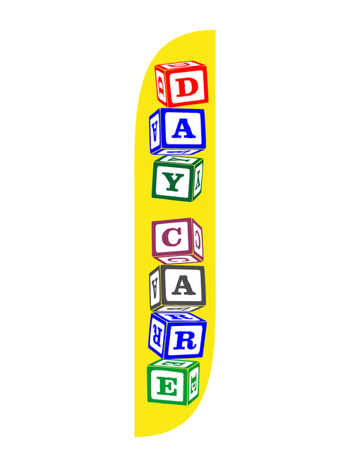 Day Care 12ft Feather Flag with Blocks. The Day Care Feather Flag is the most cost effective way to effectively bring attention towards your day care business. With the unique letter block design spelling Day Care, you'll turn the heads of all parents towards your day care facility. Help bring potential parents into your Day Care with easy to use and setup feather flags. In stock and ready to ship, get your Day Care noticed today!