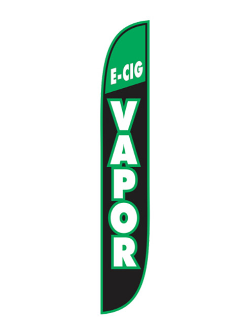 12 Foot E-Cig Vapor Green, White and Black Feather Flags. Get yours today!!  Feather flags are a great way to market and promote that your business has available E-Cig Vapor. Make sure your customers know who you are and what you do with feather flags. These 12 Foot E-Cig Vapor Feather Flags are ready to be shipped to your business today.