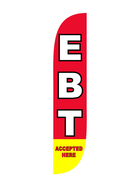 The 12ft EBT Accepted Here 1 Feather Flag lets everyone know that they need to visit your location regardless if they have cash or not. Acquire the customers that would normally stay away from you business, by installing a set of these feather flags in and around your location. Pair them with matching Feather Flag Pole Sets and eliminate assembly time and compatibility guesswork. Order before 1:30 PM Pacific Time Monday through Friday and get same day shipping.
