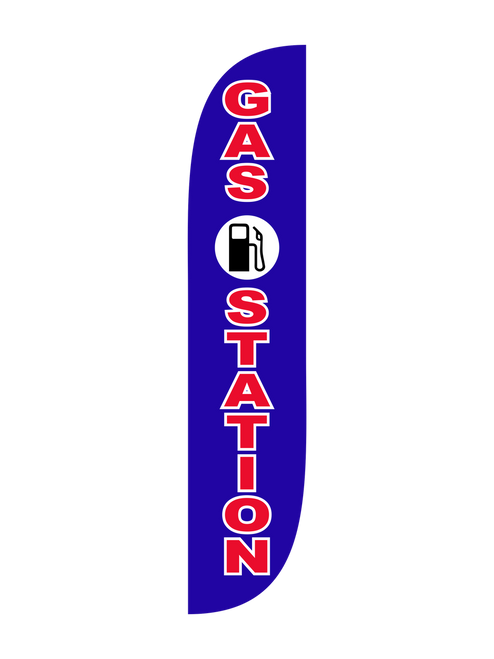 The  12ft Gas Station Blue Feather Flag