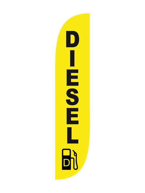 The 12ft Diesel Feather Flag is another bold and bright Feather Flag that is perfect for your gas station. The bright yellow and bold black text can't be ignored by drivers especially when they do need to fuel up. Watch as your revenue increases and you see higher number of visitors. Diesel fuel is only offered in select gas stations so you will definitely benefit from adding a little reach to your existing advertising or creating a whole new advertising plan. Constructed using the best flag materials and using the latest technology for manufacturing, you'll rest assured that your product is the best out there. Purchase your flags with matching pole sets and expect a quick and easy assembly an installation. We also offer an added bonus if you place your order before 1:30 PM Pacific Time. We ship out the same day!