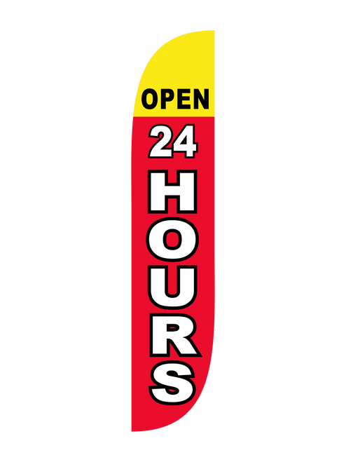 The 12ft Open 24 Hours Feather Flag Red & Yellow. When you want people to know that your business location is never closed, there's no better way to advertise this than with a Feather Flag. Pair it with a matching  Feather Flag Pole Set and watch as you gain more customers and higher revenue. Made of the highest grade material and using the latest technology in construction methods, you won't find a better advertising feather flag out there in the market.