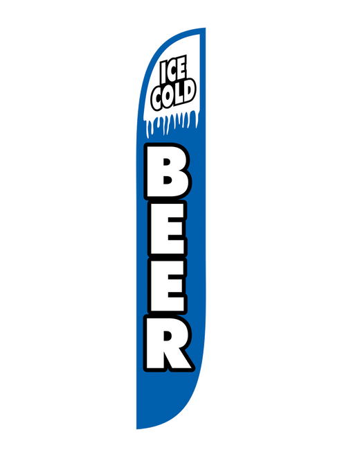 Get your Ice Cold Beer!!! If your business sells Ice Cold Beer Feather Flags are the most cost efficient and efficient way to advertise this to the public and to everyone passing you buy.   12 Foot Blue Ice Cold Beer Feather Flags are open-faced and a beautiful addition to your business. They can be seen from far away measuring 12 feet tall. These feather flags are in stock and ready to be shipped to your door. Get your Ice Colde Beer Feather Flag today!