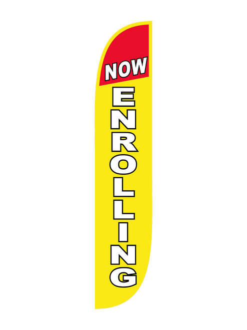 Now Enrolling 12ft Feather Flag in Yellow & Red  Let everybody know that your location is accepting enrollment with the Now Enrolling Feather Flag in Yellow & Red. Feather flags are low cost, easy to use, but highly effective at showing everyone that your business is now enrolling. Let us Now Enrolling feather flag do your outdoor advertising for you. Get noticed today with the Now Enrolling Feather Flag.