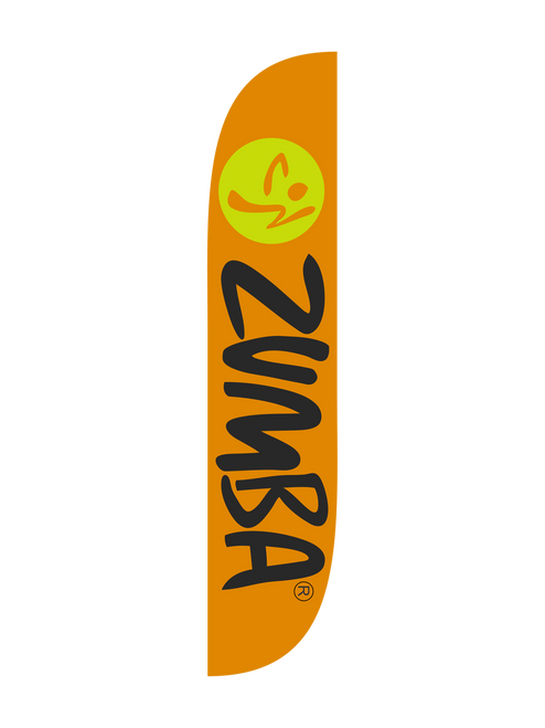 Zumba Fitness Orange feather flag.  The brand collection of fitness feather flags will get your business noticed immediately. Is your fitness studio or recreation center now offering Zumba classes? Let all your current and prospective gym members know that Zumba class is now in session. Get those customers dancing in your door by raising a Zumba feather flag at your location today. In-stock and ready to ship, the Zumba feather flag is the most cost effective attention grabbing outdoor advertising tool that offers. Feather flags are the most cost effective and easiest way to spread the word about your businesses sale.  In stock and ready to ship today!