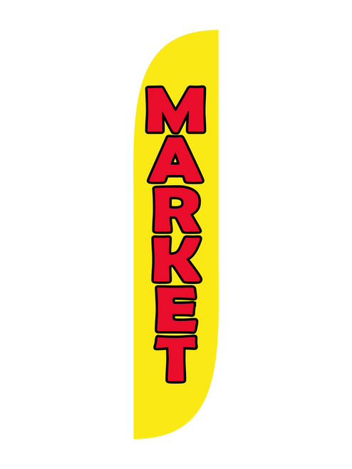 Market Feather Flag in 12ft size  in Yellow. Do you want to get your market noticed? Need to boost attendance at your farmers market? Let everyone in town know by raising the 12ft yellow   Market feather flag. Feather flags are low cost high impact bold and concise outdoor advertising beacons. In-stock and ready to ship, will let everyone know about your market today with this 12ft Market feather flag.