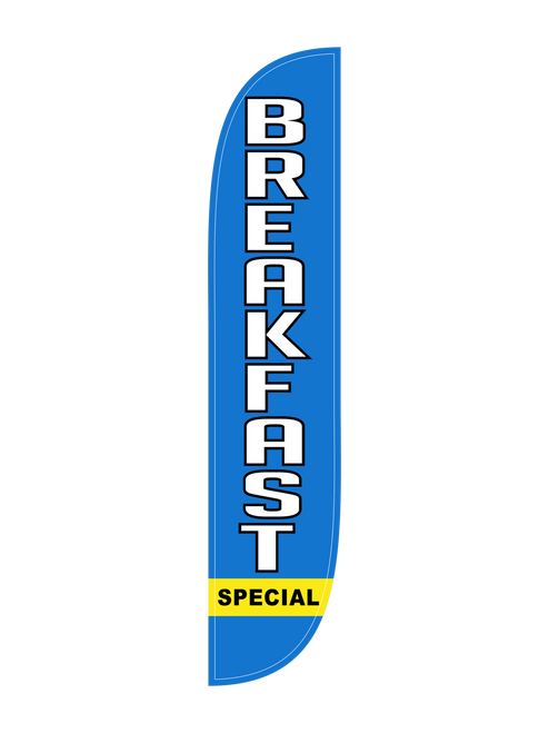 Breakfast Special Feather Flag in 12ft size in Blue. Bacon and Eggs? French Toast? Pancakes? What's the breakfast special at your restaurant or diner this morning? Let all those drivers know that you're open for breakfast with the Breakfast Special Feather Flag. The low cost, easy to use, and vividly visible natures of the   Feather flag make it a must have outdoor advertising tool. In-stock and ready to ship today!