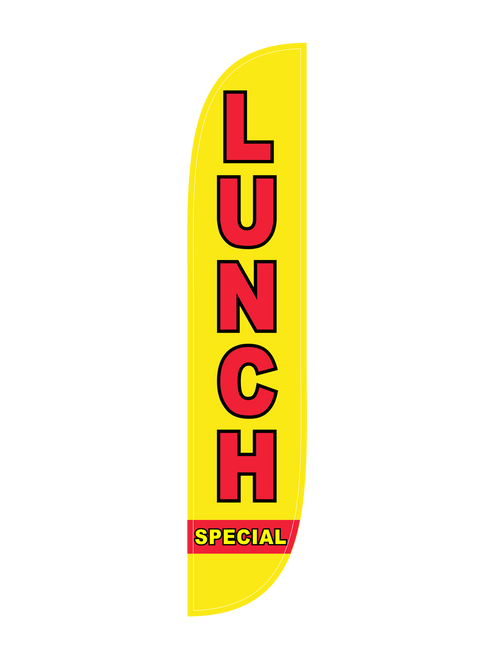 Lunch Special Feather Flag in 12ft size in yellow. Do you own a diner, sandwich shop, or up and coming lunch spot? Want to let everyone know about it in the most cost effective yet visually powerful way? Stick a Lunch Special  feather flag in the ground, and stake your claim to the neighborhood's lunch scene. Ease of use, bold colors, low cost, and portability are among the feather flag's best attributes. The Lunch Special feather flag in in-stock and ready to ship. Let us get you noticed today!