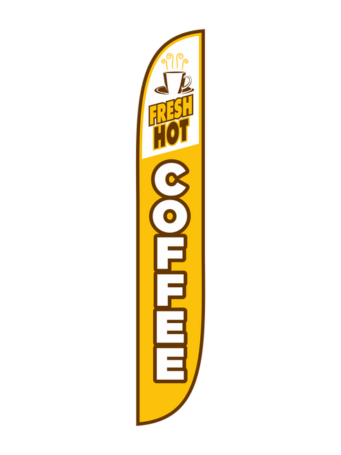 12 Foot Yellow Fresh Hot Coffee Feather Flag. Feather Flags are an excellent and cost efficient way to advertise your business and products that your provide. If you sell Fresh Hot Coffee, you'll want everyone to know. Fresh Hot Coffee Feather Flags will bring you more business than you'll every seen by advertising in the most cost efficient and effective way out there.  Feather flags are ready to be shipped today. Get yours!!