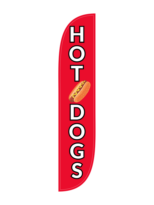 Hotdogs Feather Flag in 12ft size  in red. Is your restaurant, bar, food truck, or grill stand cooking up some hot dogs today? Let everyone on the street and at the event know, raise this simple yet bold advertising tool - the Hotdogs feather flag. Easy to use, and easy on the pocket, the feather flag is an excellent and easy to break down outdoor sign. Is your grill cooking up burgers AND hot dogs? Get one of each of the burgers and hotdogs feather flags. In-stock and ready to ship today!