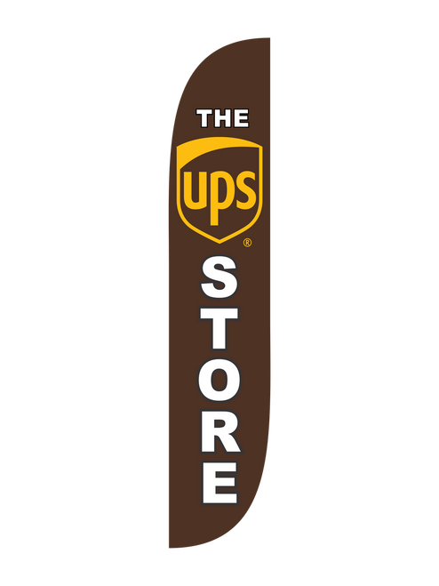 The UPS Store Feather Flag Brown