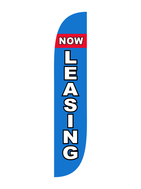Now Leasing Feather Flag Blue & Red