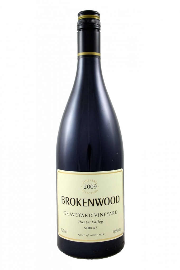 """This Label is used for premium varietal Shiraz produced solely from Brokenwood's """"Graveyard Vineyard"""". Shiraz is the classic dry red of the Hunter Valley. The low yielding, 41 year old vines from this vineyard produce a cosistent high quality wine. A top Hunter Valley vintage. Hot dry summer giving optimum ripeness. A rich deep colour with lifted red cherry and bramble aromas. A seamless palate of savoury shiraz with spicy French oak and fine tannins. A wine suitable for extended bottle maturation."""