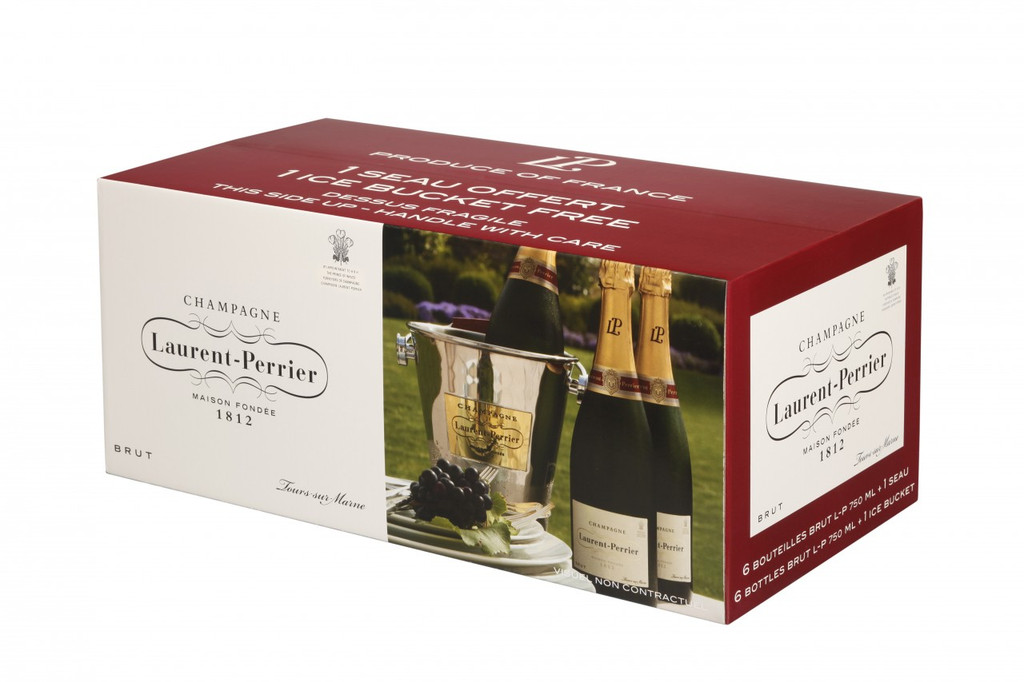 Laurent Perrier Brut Non Vintage Six Bottle Case with Leather Handled Ice Bucket