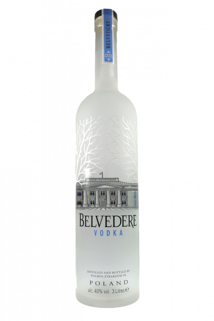 3 Litres of Premium Belvedere Vodka in a glowing bottle.