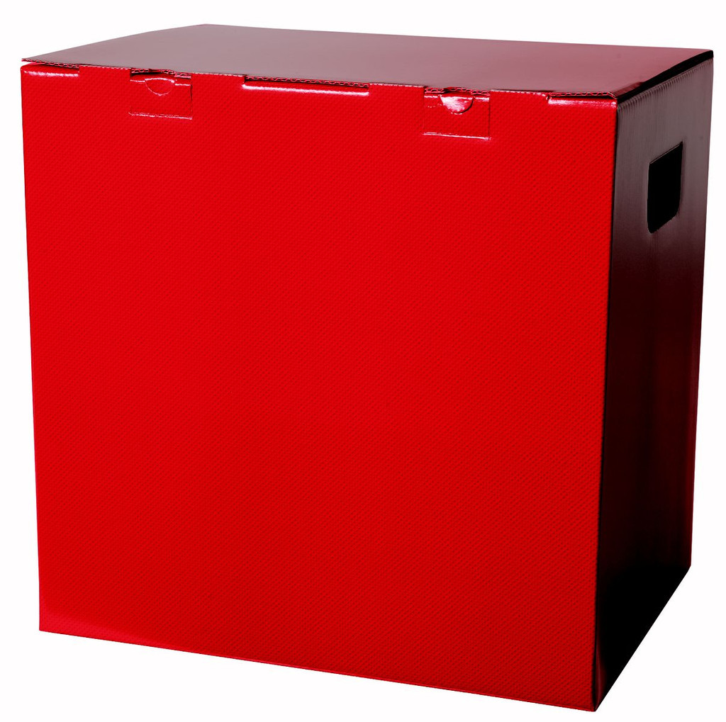 Red gift carton designed to hold up to 12 standard bottles of wine or champagne. This gift carton comes in a matt red and has an attached hinged lid. There are two cut out carry holes on either side panel for ease of carrying. The box is supplied with an additional base, handle fitting and 1/3 bottle height card dividers which creates the slots the bottles fit in. The extra base and handle fitting give this gift carton extra strength while carrying. Delivered flat packed for convenient storage.