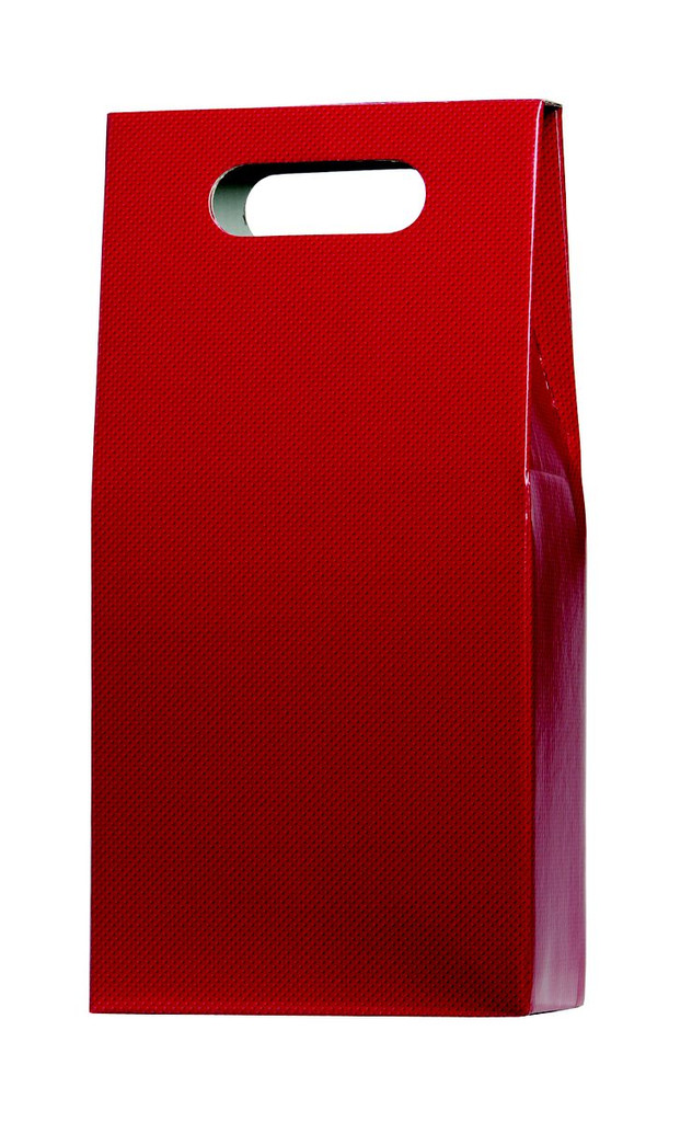 Red gift carton designed to hold up to 2 standard bottles of wine or champagne. This gift carton comes in a matt red and has an attached hinged lid. There are two cut out carry holes on either side panel for ease of carrying. The box is supplied with an additional base, handle fitting and 1/3 bottle height card dividers which creates the slots the bottles fit in. The extra base and handle fitting give this gift carton extra strength while carrying. Delivered flat packed for convenient storage.